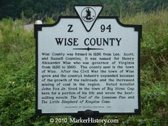 flat gap, wise county, west virginia history   Wise County Z-94   Marker History