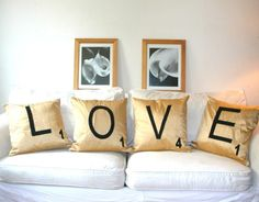 Quirky and cute! These Scrabble pillows from @Etsy seller Bambina are such a great #home #decor accent