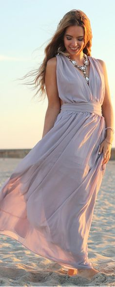 Who can resist attraction of maxi dress ! I have dreamed getting five colors at least of maxi .Light purple is first ! Light Purple Deep V Neck Maxi Dress from shein.