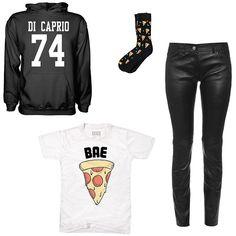 Leonardo DiCaprio Date of Birth varsity-style hoodie, $22, etsy.com; Party Party socks, $10, ties.com; Balenciaga skinny-leg leather trousers, $2,225, matchesfashion.com; Essex Dry Goods men's Bae Pizza T-shirt in white, $11, target.com