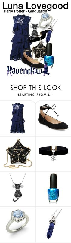 """""""Luna Lovegood Graduation"""" by harrypotter5731 on Polyvore featuring Rebecca Vallance, Karl Lagerfeld, Aspinal of London, Amanda Rose Collection, OPI, Diamondere and Bellini"""