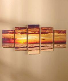 canvas wall art 5pc setting sun photo picture home decor