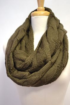 Chunky Knitted Loop Infinity Circle Scarf Cable Pattern Snood Cowl Gift Idea. $36.00, via Etsy.