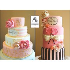 Beautiful cakes, dough all dressed up with plenty of places 2go and people 2 be seen by- love le bows