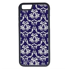 CellPowerCasesTM Damask Navy iPhone 6 (4.7) V1 Black Case ($9.98) ❤ liked on Polyvore featuring accessories, tech accessories and black