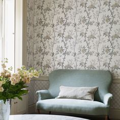 Peony & Blossom from the Langdale Collection, Sofa in Sackville Linen by GP & J Baker. Lee Jofa wallpaper