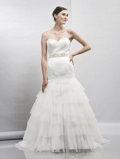 Trumpet/Mermaid Sweetheart Tulle Satin Sweep Train White Tiered Wedding Dresses