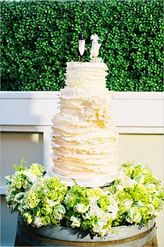 Ruffled White Cake By Mali B Sweets #wedding #cake
