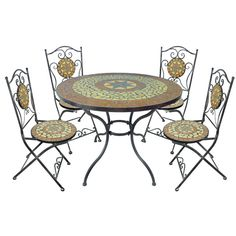 #Ideal for outdoor dining this summer, this table and chair set is stylishly designed with a beautiful star print mosaic design in bright summery shades. Stylishly constructed, the fabulous set will add a great look to your garden and will be ideal for garden parties and barbeques through the warmer months. Made from strong and sturdy materials, the table and four chairs are long lasting and weatherproof making them an ideal choice for your garden.  Like,Repin,Share,Thanks