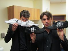 2 Cellos with shoes I painted for them, Las Vegas.Imagine Loving Art