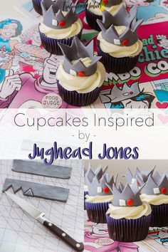 Cupcakes inspired by Jughead Jones - chocolate cupcakes with a vanilla frosting and a cute fondant crown topper. The best treat for any Archie/Riverdale fan! Riverdale Merch, Riverdale Funny, 14th Birthday Cakes, 13th Birthday, Birthday Cupcakes, Fondant Crown, Betty And Jughead, Best Dessert Recipes, Savoury Cake