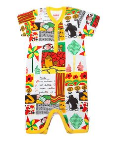 a4562b6649d9 Take a look at this Yellow Graphic Print Short Sleeve Romper - Premature   amp  Infant