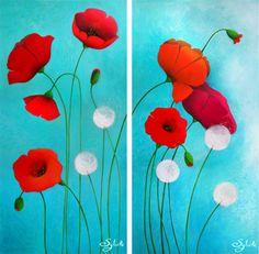Peintures Acryliques, Peintures originales Poppies est une création orginale de Sybile sur DaWanda