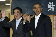 President Barack Obama and Japanese Prime Minister Shinzo Abe depart Sukiyabashi Jiro sushi restaurant in Tokyo, Wednesday, April 23, 2014.-WSJ.com