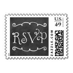Wedding RSVP Postage | Black Chalkboard Charm