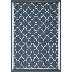 Safavieh Moroccan Indoor/Outdoor Courtyard Navy/Beige Rug (8' x 11') , Blue, Size 8' x 11' (Synthetic Fiber, Geometric)