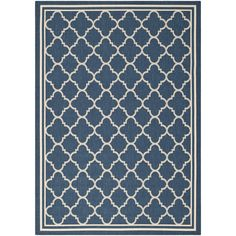 Safavieh Dhurrie Indoor/Outdoor Courtyard Navy/Beige Rug (9' x 12') (CY6918-268-9), Blue, Size 9' x 12' (Synthetic Fiber, Geometric)