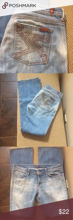 """Size 29 7fam jeans 7 for all mankind light wash preowned and loved jeans. Size 29 with 32"""" inseam. Has small rip on the butt . Cute back pockets. Also for sale on mercari 7 For All Mankind Jeans Boot Cut"""