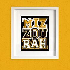 Miz | Zou | Rah - Print - Mizzou Tigers Abstract Art Print - MU - University of Missouri Typographic Poster Sign
