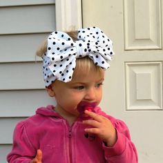 Big Bow Headband- LIttle Girls Head wrap- Girl Turban-Baby Boho headband-  Black and White  Head wrap
