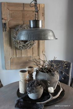 Lamp and vignette on the dining table..**1** without the antlers..
