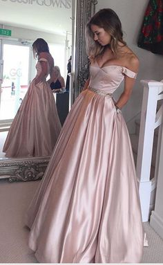New Arrival Blush Pink Off the Shoulder Ball Gown Prom Dresses,Bodice Beaded Waist Long Evening Prom Gowns With Pocket Graduation Dresses BON72
