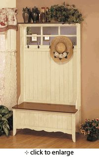 Entryway Hall Tree Coat Hanger with Storage Bench in Weathered Linen Finish
