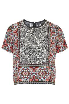 ♥ NEW Topshop Petite Scarf Border Print Top Paisley 8 10 12 14 16 RRP £36 ♥