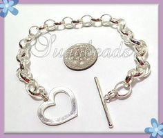 1 Silver Plated Copper Heart Toggle Clasp Link by sugabeads, $2.50