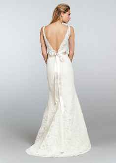 Low deep V back neckline lace wedding gown