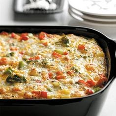 Healthy breakfast casserole under 300 calories. Prepare it the night before and just bake it in the oven the next morning. Great for when you have company staying over.