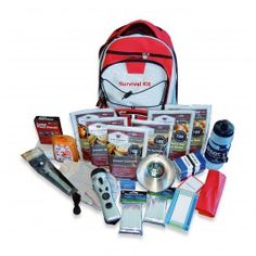 awesome emergency survival kit! everything you could possibly need  contains:   72 hours of food and water  waterproof matches  4 in 1 flashlight   2 mylar sleeping bags  eating utensils and cup  a portable stove  waste bags  work gloves  65 piece first aid kit  and even playing cards  a notepad and pencil  all in a grab and go hikers back pack  www.whitestonesos.com