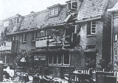 Granaatinslag in de Vermeerstraat 4, Nijmegen Oost. Najaar 1944