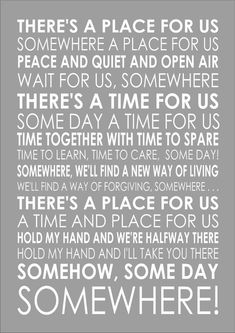 A Place For Us Somewhere West Side Story Wall Words Typography Song Lyrics Lyric