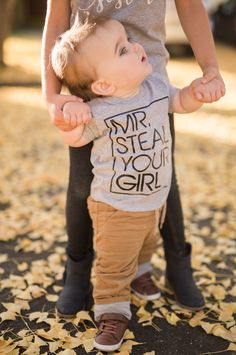 """This """"Mr. Steal Your Girl"""" short sleeve toddler t shirt is sure to make any day brighter and have everyone asking you where you got this cute shirt. - Details - - This is for 1 short sleeved grey graphic t shirt. - Please see size chart in product images. - Maintenance - Machine wash WARM / mild detergent. Dry at normal setting. Baby Outfits, Toddler Outfits, Baby Dresses, Baby Silhouette, Baby Boys, Toddler Girl, Infant Toddler, Teen Boys, Mom Baby"""