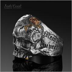 "SANDRO VERARDI ~ ""Memento Mori Skull"" Silver Ring"