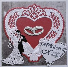Karla-Krea:+Trouwkaart Wedding Day Cards, Wedding Cards Handmade, Tattered Lace Cards, Easel Cards, Marianne Design, Heart Cards, Love Cards, Valentine Crafts, Baby Cards