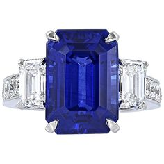 10.41 Carat Ceylon Sapphire and Diamond Ring | From a unique collection of vintage three-stone rings at https://www.1stdibs.com/jewelry/rings/three-stone-rings/