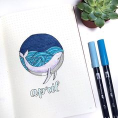 Another wonderful April cover page  this one is by @shaystudy  I love whales too much haha had to post this! #notebooktherapy - - Link to our store is in bio: @notebook_therapy  - - #bujo #bulletjournal #studyblr #studygram #stationery #stationeryaddict #planneraddict #plannergeek #study #bujolove