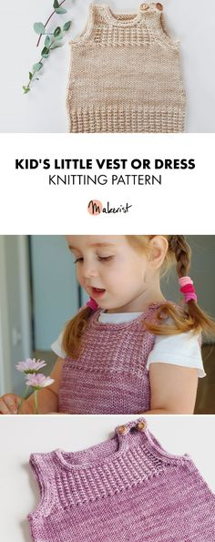 Adorable baby or kid's knitted dress or vest - Knitting Pattern via Makerist.com   #knittingwithmakerist #knittingpatterns #knitting #diy #babyclothes #kidsclothes