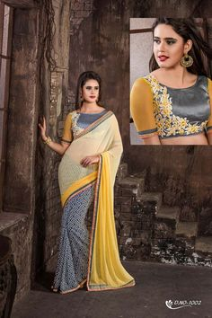 Buy Grey Georgette Party Wear Sarees Online in low price at Variation. Huge collection of Party Wear Sarees for Party, Festivals, Engagements and Ceremonies. #party #partywearsarees #sarees #onlineshopping #latest #lowprice #variation. To see more - https://www.variationfashion.com/collections/party-wear-sarees
