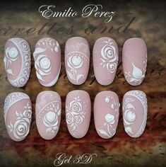 Super wedding nails flower brides Ideas - Nägel - Best Nail World Wedding Nails For Bride, Bride Nails, Wedding Nails Design, Lace Nails, Flower Nails, Nagel Bling, Bridal Nail Art, White Nail Art, Gel Nail Art