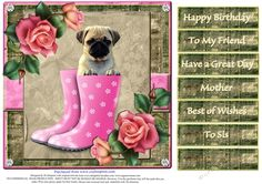 Cute Puppy for lots of occasions 1 by Di Simpson Cute puppy design for lots of occasions. For female. Print out two sheets if wanting some 3D elements to bring your card to life.