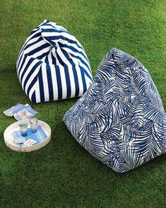 The beanbag makes a chic comeback when fashioned in vibrant outdoor fabrics.