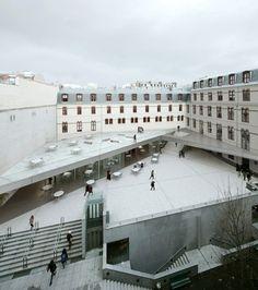 student center - Paris Sorbonne on Behance Public Architecture, Cultural Architecture, Concept Architecture, School Architecture, Residential Architecture, Interior Architecture, Architecture Diagrams, Architecture Portfolio, Parvis