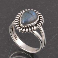 BLUE FIRE LABRADORITE 925 SOLID STERLING SILVER FASHION RING 4.28g DJR6370 #Handmade #Ring