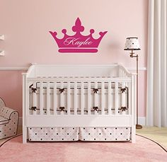Personalized Wall Decals Girls Princess Crown With Custom Name Vinyl Home Decor - Bedroom, Nursery Decoration *** Click on the image for additional details.