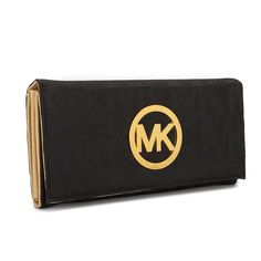 Michael Kors Black MK Logo Embossed Leather Wallet $40.99