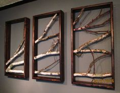 Birch Branch Triptych by MadeAtTheLake on Etsy