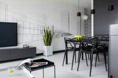 Designer Wohnung-Schwarz Weiß-Wohnzimmer Essbereich-futuristische stühle